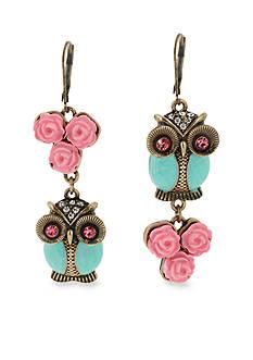 Betsey Johnson Owl Mismatch Drop Earrings