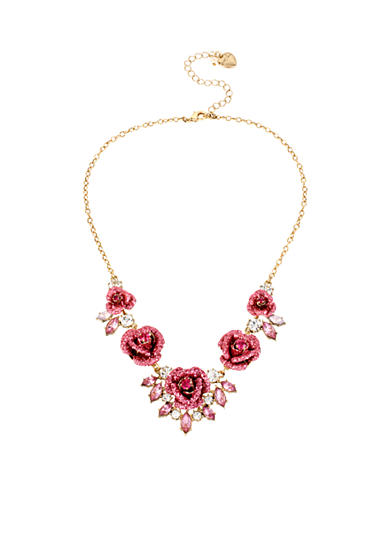 Betsey Johnson Glitter Rose Frontal Necklace