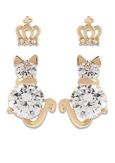 Betsey Johnson Crown & Cat Duo Stud Earring Set