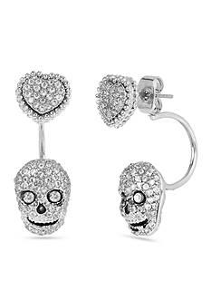 Betsey Johnson Skull & Heart Front & Back Earring
