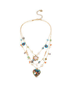 Betsey Johnson Woven Mixed Multi-Colored Bead & Flower Heart Illusion Necklace