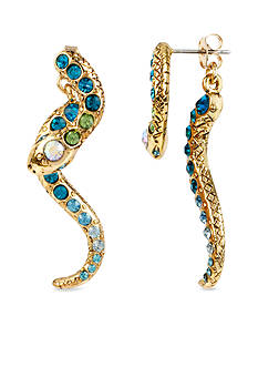 Betsey Johnson Pave Crystal Snake Front & Back Linear Earring