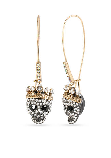 Betsey Johnson Two-Tone Pave Skull Drop Earrings