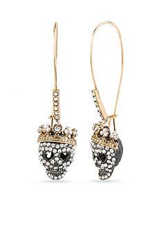 Betsey Johnson Two-Tone Pave Skull Drop Earrings
