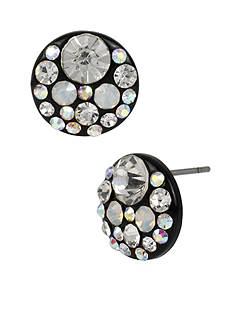 Betsey Johnson Hematite Faceted Stone Round Disc Stud Earrings