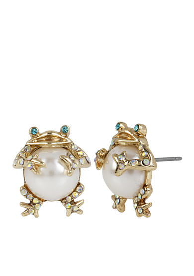Betsey Johnson Gold-Tone Pearl Frog Stud Earrings