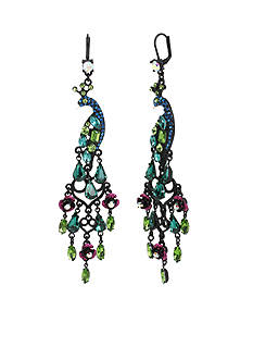 Betsey Johnson Hematite-Tone Pave Peacock Chandelier Earrings