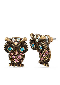 Betsey Johnson Gold-Tone Owl Front & Back Earring