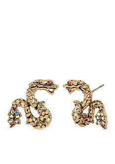 Betsey Johnson Gold-Tone Memoirs Of Betsey Dragon Button Earrings