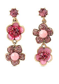 Betsey Johnson Gold-Tone Memoirs Of Betsey Flower Double Drop Earrings