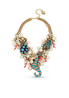 Betsey Johnson Sea Horse Multi Charm Bauble Necklace