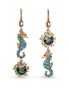 Betsey Johnson Sea Horse and Faceted Stone Mismatch Double Drop Earrings
