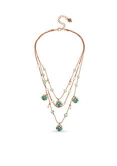 Betsey Johnson Faceted Stone Disc and Mixed Bead Illusion Necklace