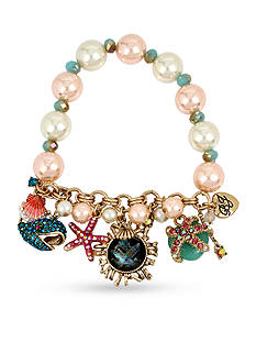 Betsey Johnson Mixed Multi Charm Pearl Half Stretch Bracelet