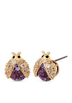 Betsey Johnson Gold-Tone Spring Critters Cubic Zirconia Bug Stud Earrings