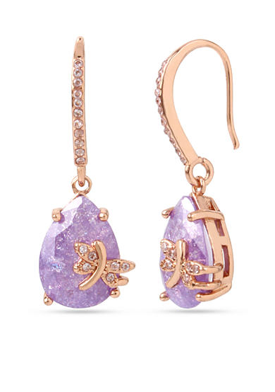 Betsey Johnson Rose Gold-Tone Dragonfly Drop Earrings