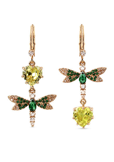 Betsey Johnson Gold-Tone Spring Critters Cubic Zirconia Double Drop Earrings