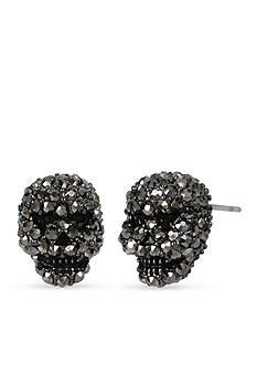 Betsey Johnson Hematite Tone Betsey's Delicates Skull Stud Earrings