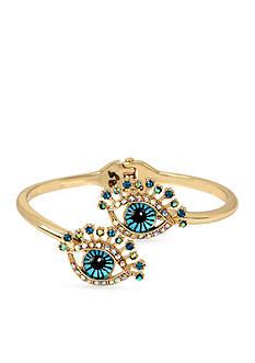 Betsey Johnson Gold-Tone Betsey's Delicates Eye Bangle Bracelet