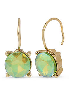 Betsey Johnson Gold-Tone Green Faceted Stone Drop Earrings