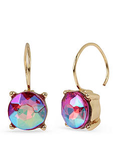 Betsey Johnson Gold-Tone Pink Faceted Stone Drop Earrings