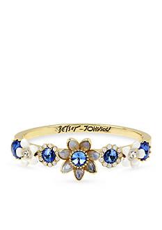 Betsey Johnson Gold-Tone Faceted Stone Flower Bangle Bracelet