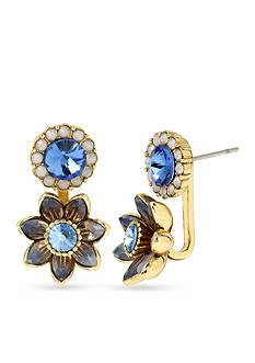 Betsey Johnson Gold-Tone Faceted Stone Flower Front and Back Earrings