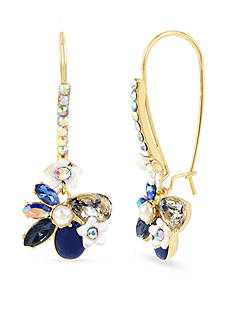 Betsey Johnson Gold-Tone Faceted Stone Flower Long Drop Earrings