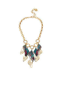 Betsey Johnson® Gold-Tone Mixed Stone Butterfly Wing Statement Necklace
