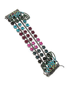 Betsey Johnson® Hematite-Tone Mixed Faceted Stone Butterfly Multistrand Bracelet