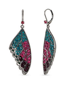 Betsey Johnson Hematite-Tone Faceted Stone Butterfly Wing Drop Earrings