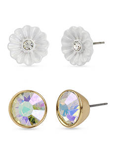 Betsey Johnson Gold-Tone Flower And Faceted Stone Duo Stud Earring Set