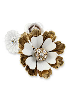 Betsey Johnson Gold-Tone Flower Bypass Ring