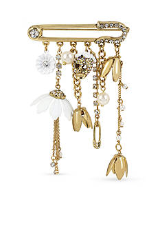Betsey Johnson Gold-Tone Multi Charm Crystal Pin
