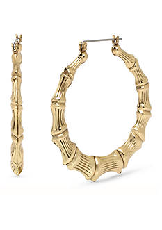 Betsey Johnson Gold-Tone Bamboo Large Hoop Earrings