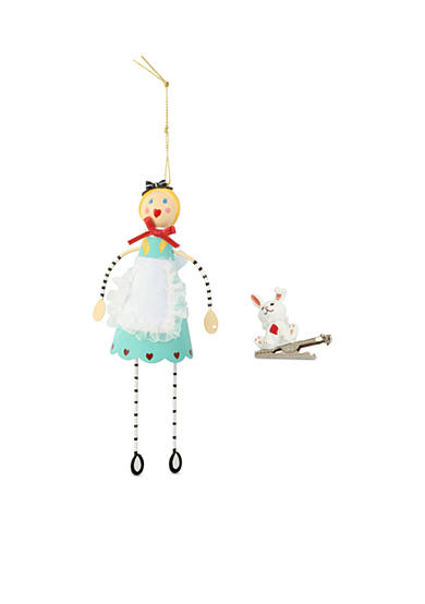 Betsey Johnson Silver-Tone Alice in Wonderland Ornament and White Rabbit Clothespin Charm