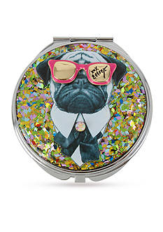 Betsey Johnson lSilver-Tone Pug Glitter Mirror Compact