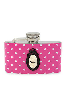 Betsey Johnson 3 Oz Stainless Steel Pink and White Polka Dot Flask
