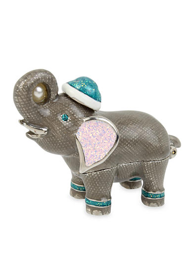 Betsey Johnson Silver-Tone Gray Elephant Keepsake