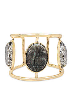 Betsey Johnson Gold-Tone Faceted Stone Cuff Bracelet