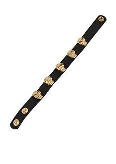 Betsey Johnson Black Leather Skull Snap Bracelet
