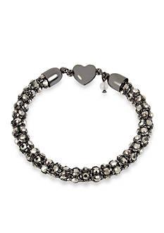 Betsey Johnson Hematite Faceted Stone Chain Bracelet