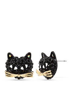 Betsey Johnson Black Pave Cat Stud Earring
