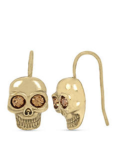 Betsey Johnson Gold-Tone Skull Drop Earring