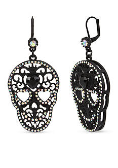 Betsey Johnson® Black-Plated Faceted Stone Drop Earrings