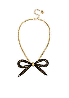 Betsey Johnson Gold-Tone Faceted Bead Mesh Bow Frontal Necklace