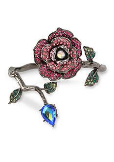 Betsey Johnson Pave Rose & Faceted Stone Wrap Hinged Bangle Bracelet