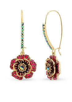 Betsey Johnson® Gold-Tone Rose Drop Earrings