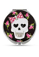 Betsey Johnson Silver-Tone Skull and Rose Printed