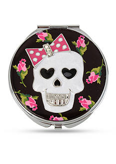 Betsey Johnson Silver-Tone Skull and Rose Printed Mirror Compact